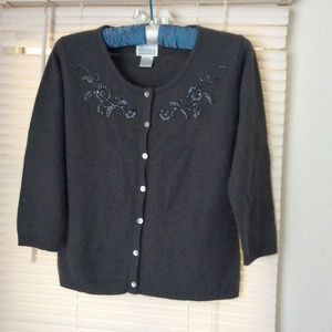 MODA INT'L  Top Gray Wool Sz M Embroidered Beads